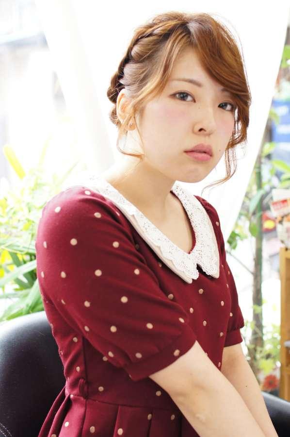 大阪 美容室 ヘアアレンジ かわいい 編み込み